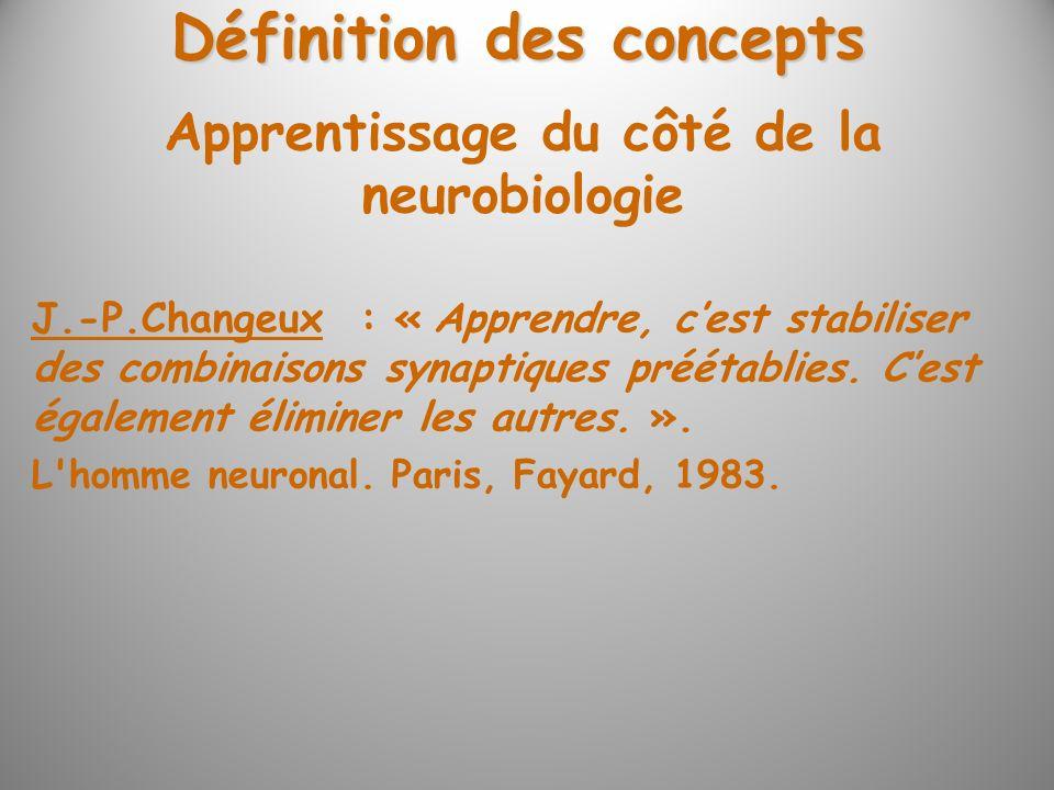 Définition des concepts J.-P.Changeux : « Apprendre, cest stabiliser des combinaisons synaptiques préétablies. Cest également éliminer les autres. ».