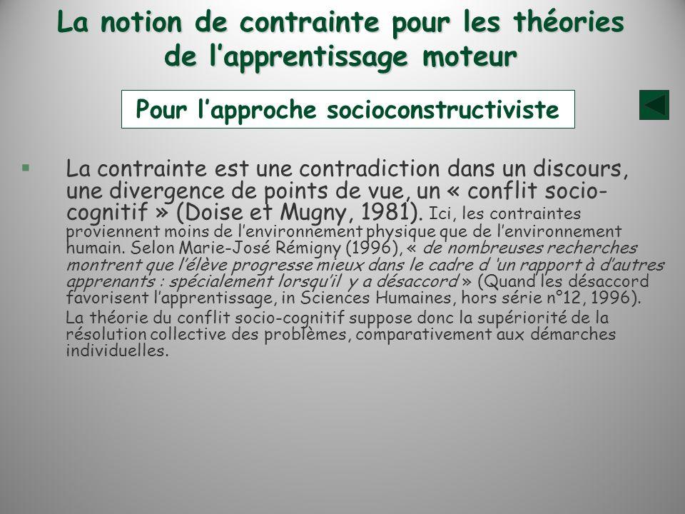 La notion de contrainte pour les théories de lapprentissage moteur §La contrainte est une contradiction dans un discours, une divergence de points de vue, un « conflit socio- cognitif » (Doise et Mugny, 1981).