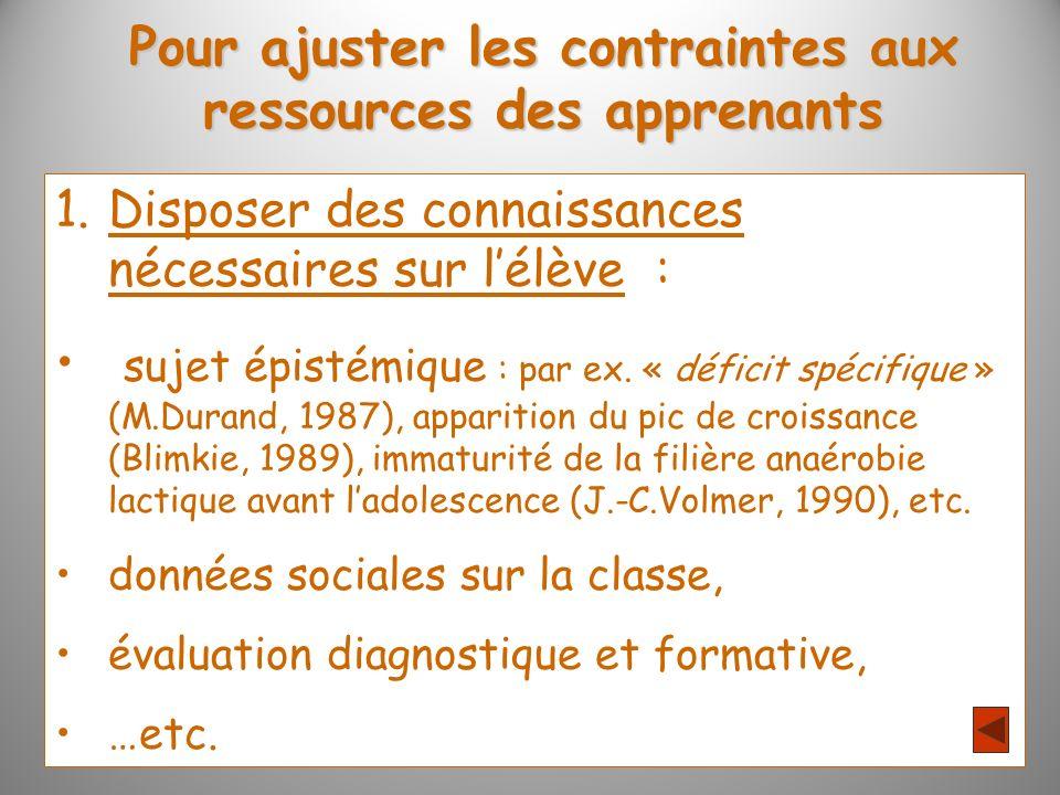Pour ajuster les contraintes aux ressources des apprenants 1.Disposer des connaissances nécessaires sur lélève : sujet épistémique : par ex.