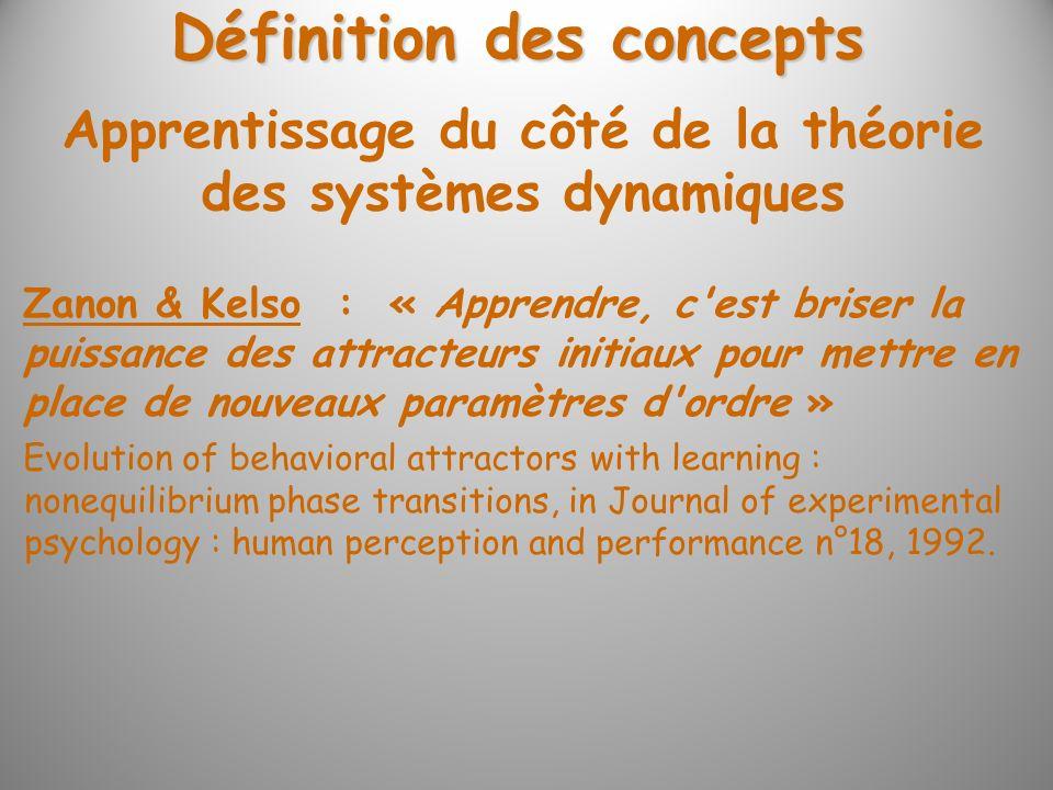 Définition des concepts Apprentissage du côté de la théorie des systèmes dynamiques Zanon & Kelso : « Apprendre, c'est briser la puissance des attract