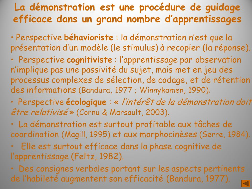 La démonstration est une procédure de guidage efficace dans un grand nombre dapprentissages Perspective béhavioriste : la démonstration nest que la présentation dun modèle (le stimulus) à recopier (la réponse).