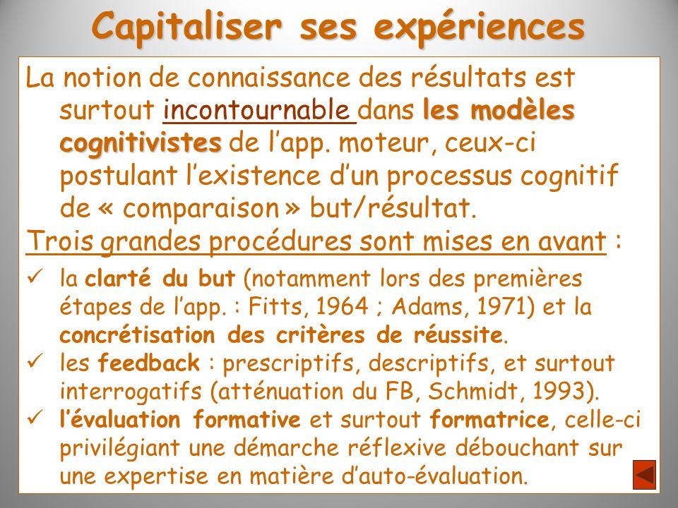 Capitaliser ses expériences les modèles cognitivistes La notion de connaissance des résultats est surtout incontournable dans les modèles cognitiviste