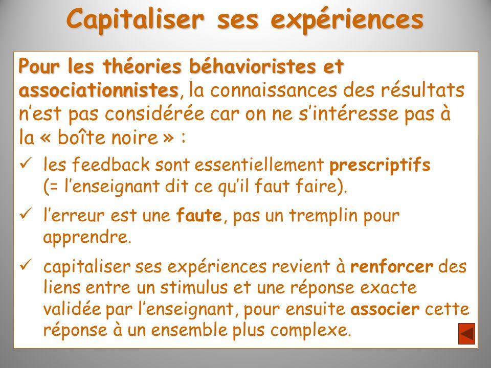 Capitaliser ses expériences Pour les théories béhavioristes et associationnistes associationnistes, la connaissances des résultats nest pas considérée