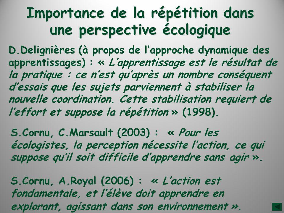 Importance de la répétition dans une perspective écologique S.Cornu, C.Marsault (2003) : « Pour les écologistes, la perception nécessite laction, ce qui suppose quil soit difficile dapprendre sans agir ».
