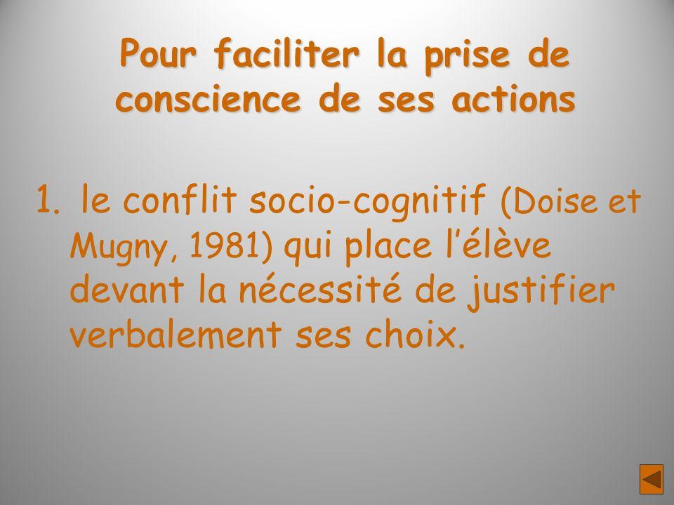 Pour faciliter la prise de conscience de ses actions 1. le conflit socio-cognitif (Doise et Mugny, 1981) qui place lélève devant la nécessité de justi