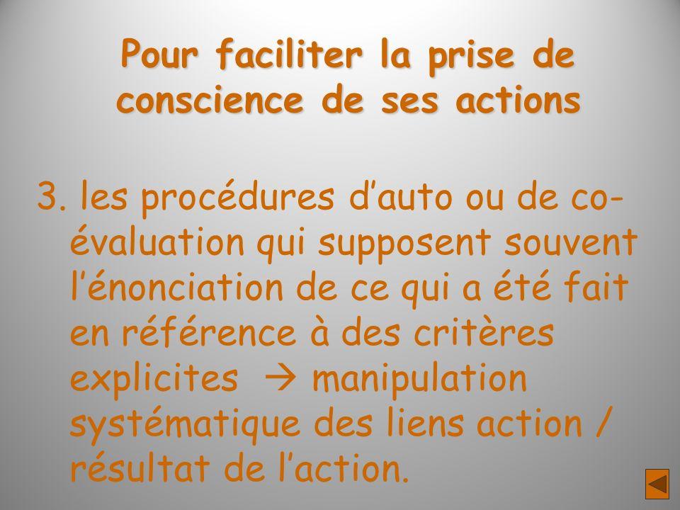 Pour faciliter la prise de conscience de ses actions 3. les procédures dauto ou de co- évaluation qui supposent souvent lénonciation de ce qui a été f