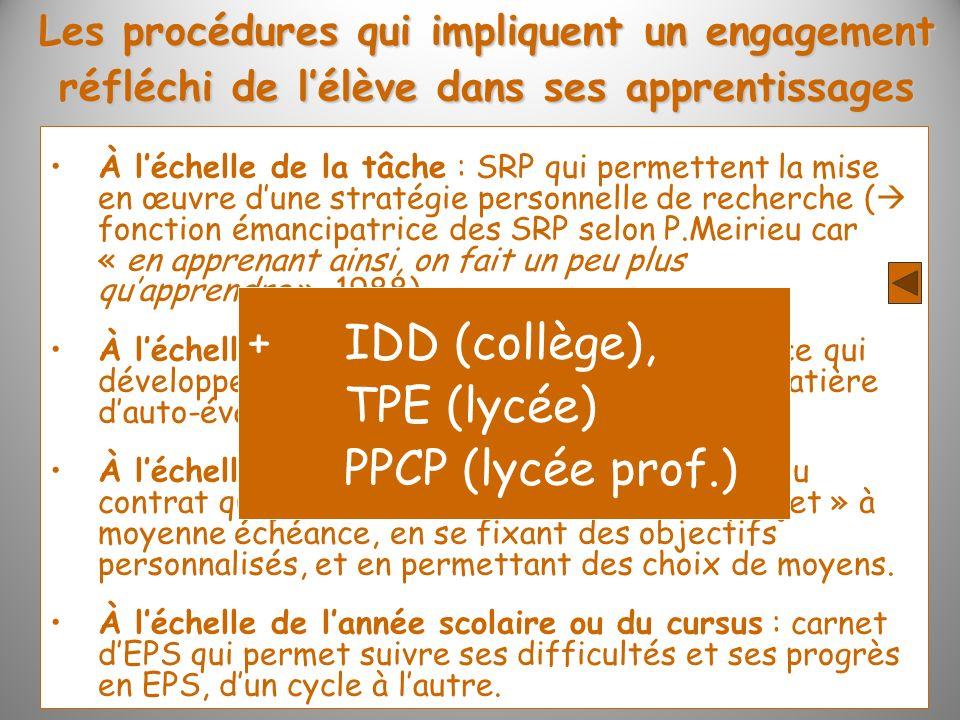 Les procédures qui impliquent un engagement réfléchi de lélève dans ses apprentissages À léchelle de la tâche : SRP qui permettent la mise en œuvre du