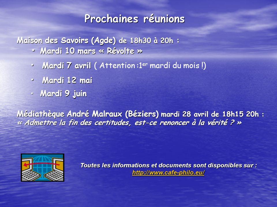 Maison des Savoirs (Agde) de 18h30 à 20h : Mardi 10 mars « Révolte » Mardi 10 mars « Révolte » Mardi 7 avril Mardi 7 avril ( Attention :1 er mardi du mois !) Mardi 12 mai Mardi 12 mai Mardi 9 juin Mardi 9 juin Médiathèque André Malraux (Béziers) mardi 28 avril de 18h15 20h : « Admettre la fin des certitudes, est-ce renoncer à la vérité .