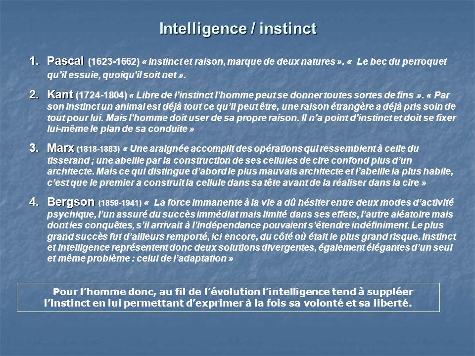 Intelligence / instinct 1.Pascal 1.Pascal (1623-1662) « Instinct et raison, marque de deux natures ».