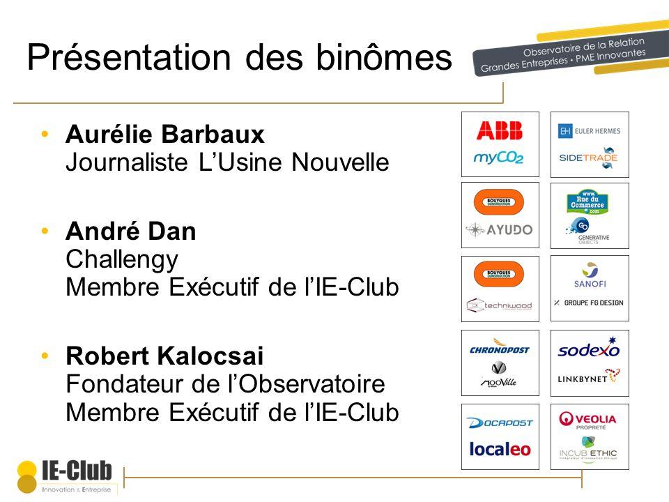 Présentation des binômes Aurélie Barbaux Journaliste LUsine Nouvelle André Dan Challengy Membre Exécutif de lIE-Club Robert Kalocsai Fondateur de lObs