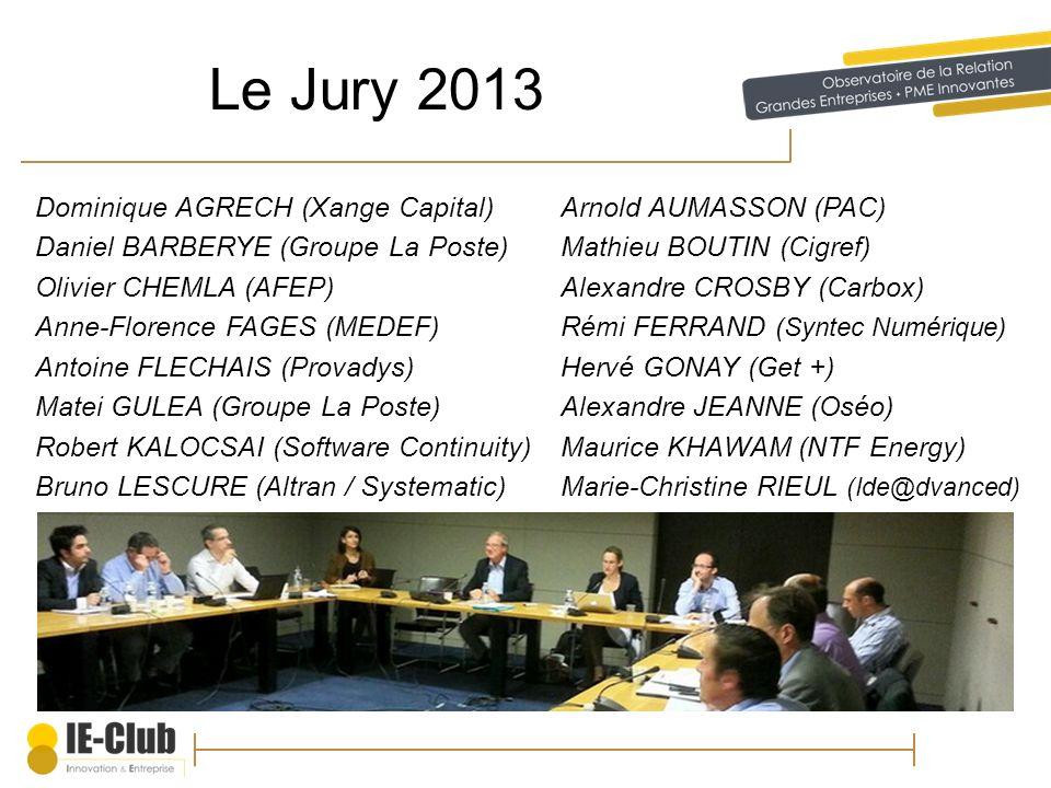 Le Jury 2013 Dominique AGRECH (Xange Capital)Arnold AUMASSON (PAC) Daniel BARBERYE (Groupe La Poste)Mathieu BOUTIN (Cigref) Olivier CHEMLA (AFEP)Alexa