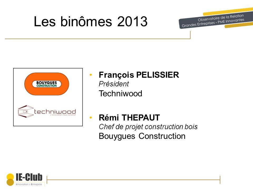 Les binômes 2013 François PELISSIER Président Techniwood Rémi THEPAUT Chef de projet construction bois Bouygues Construction