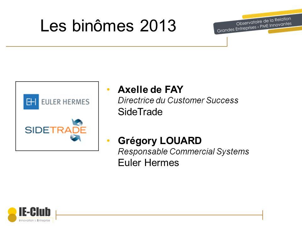 Les binômes 2013 Axelle de FAY Directrice du Customer Success SideTrade Grégory LOUARD Responsable Commercial Systems Euler Hermes