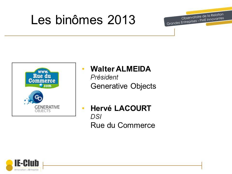 Les binômes 2013 Walter ALMEIDA Président Generative Objects Hervé LACOURT DSI Rue du Commerce