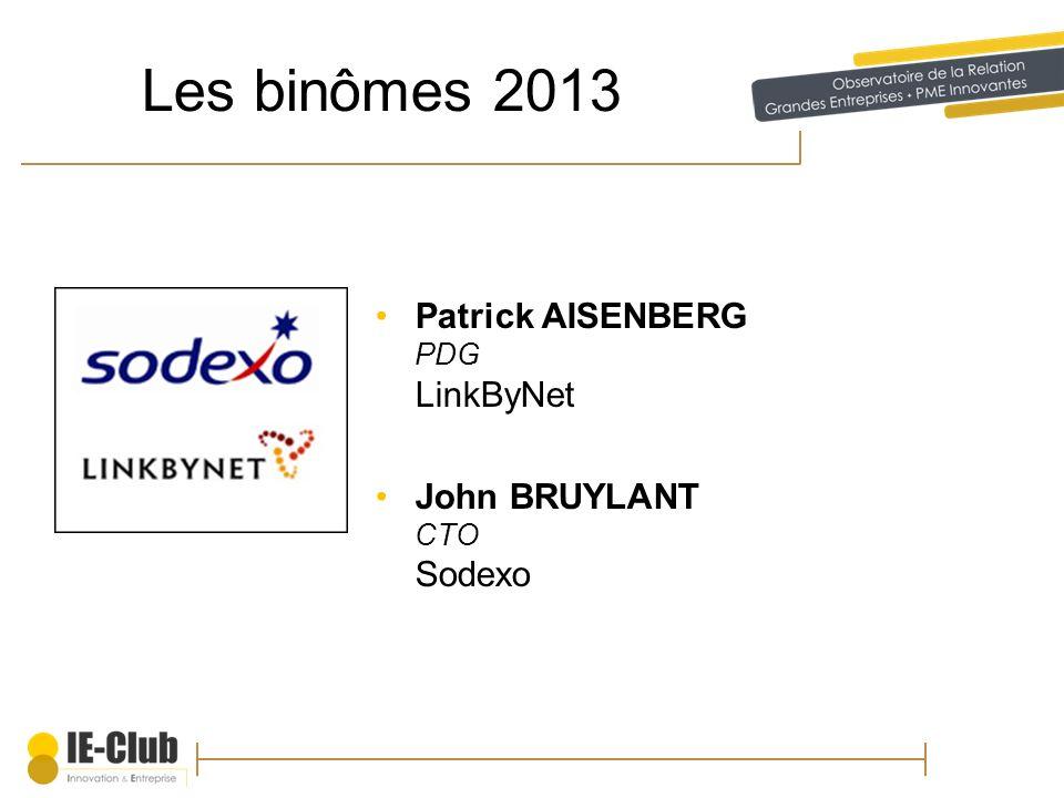 Les binômes 2013 Patrick AISENBERG PDG LinkByNet John BRUYLANT CTO Sodexo