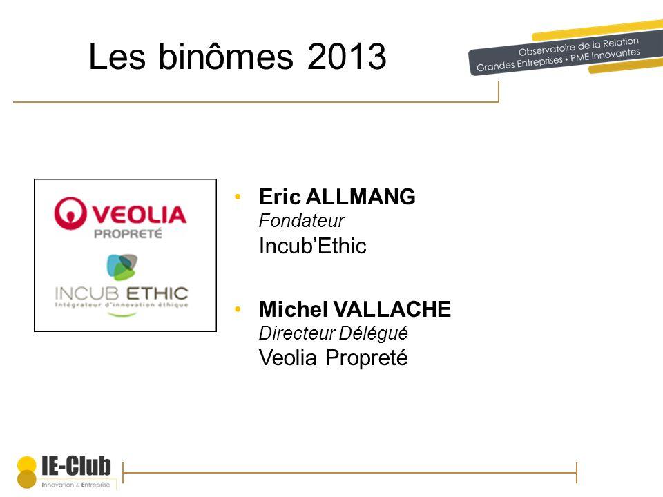 Les binômes 2013 Eric ALLMANG Fondateur IncubEthic Michel VALLACHE Directeur Délégué Veolia Propreté