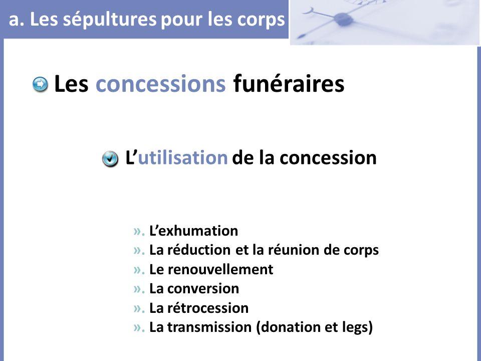 a. Les sépultures pour les corps Les concessions funéraires ». Lexhumation ». La réduction et la réunion de corps ». Le renouvellement ». La conversio