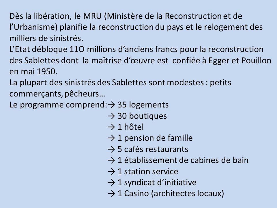 Dès la libération, le MRU (Ministère de la Reconstruction et de lUrbanisme) planifie la reconstruction du pays et le relogement des milliers de sinist