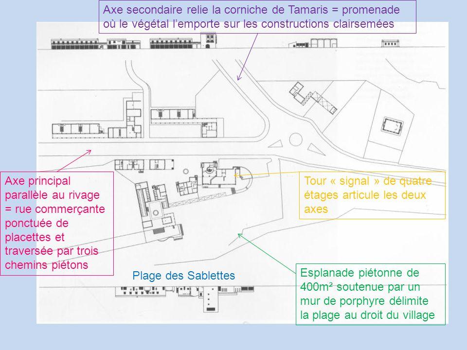 Axe principal parallèle au rivage = rue commerçante ponctuée de placettes et traversée par trois chemins piétons Axe secondaire relie la corniche de T