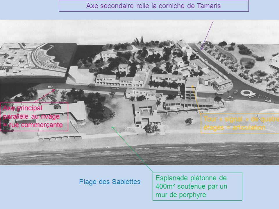 Axe secondaire relie la corniche de Tamaris Axe principal parallèle au rivage = rue commerçante Tour « signal » de quatre étages = articulation Plage