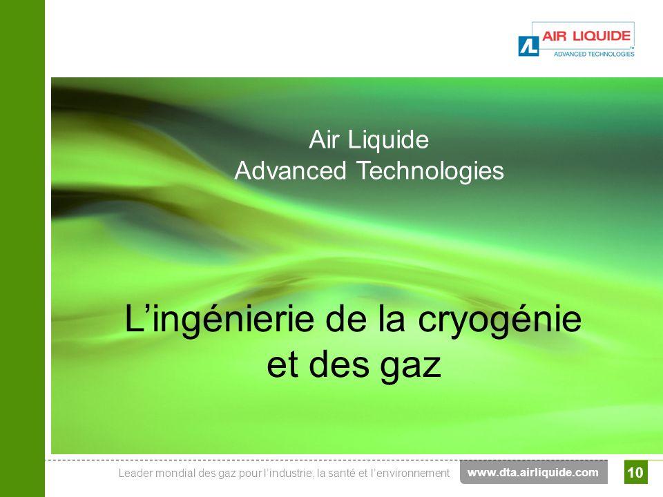Leader mondial des gaz pour lindustrie, la santé et lenvironnement Air Liquide Advanced Technologies 10 www.dta.airliquide.com Air Liquide Advanced Te