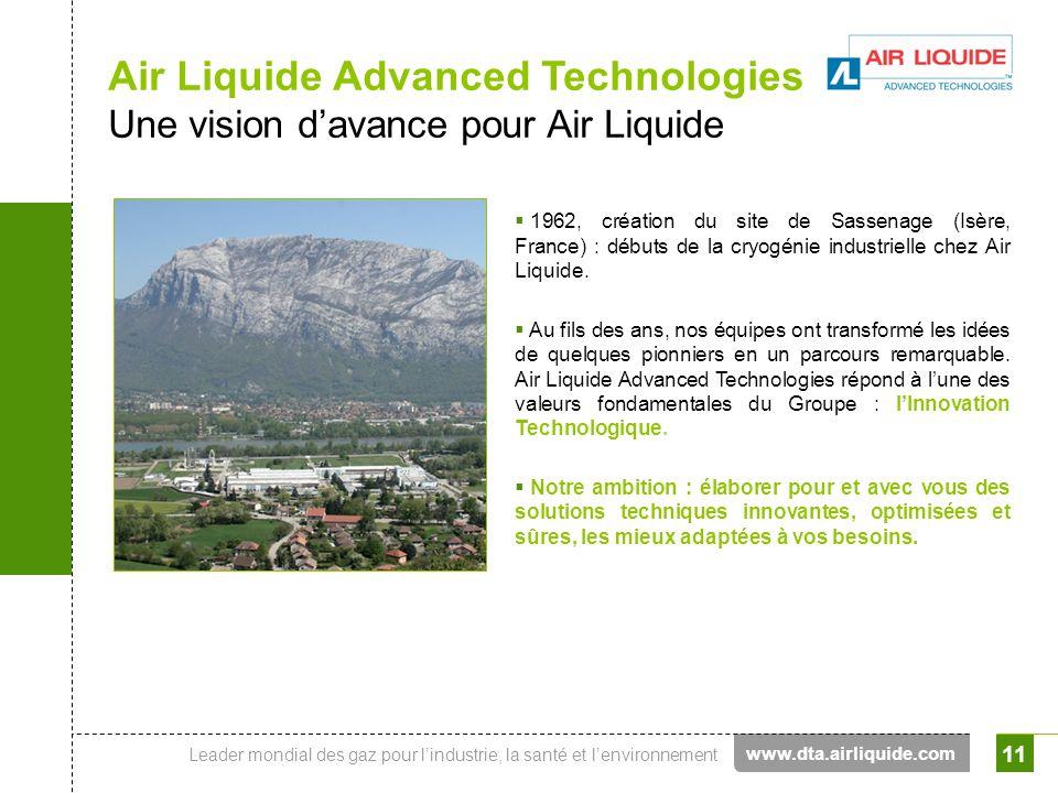 Leader mondial des gaz pour lindustrie, la santé et lenvironnement 11 Air Liquide Advanced Technologies Une vision davance pour Air Liquide 1962, créa