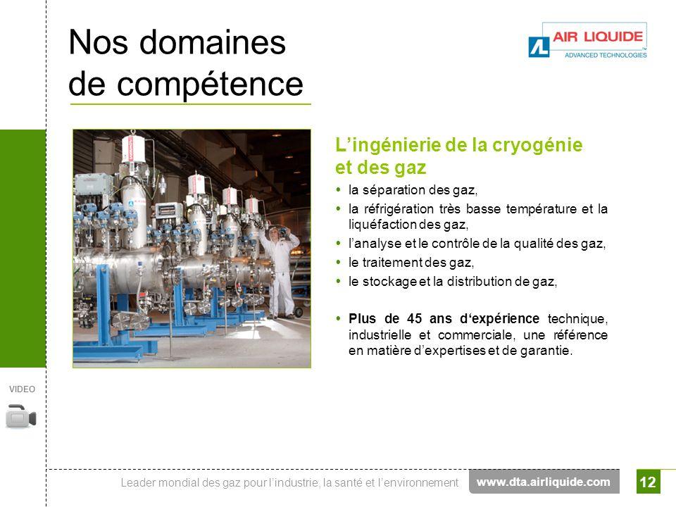 Leader mondial des gaz pour lindustrie, la santé et lenvironnement 12 Nos domaines de compétence Lingénierie de la cryogénie et des gaz la séparation