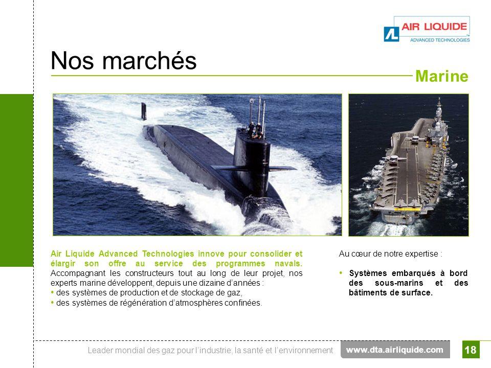 Leader mondial des gaz pour lindustrie, la santé et lenvironnement 18 Marine Air Liquide Advanced Technologies innove pour consolider et élargir son o