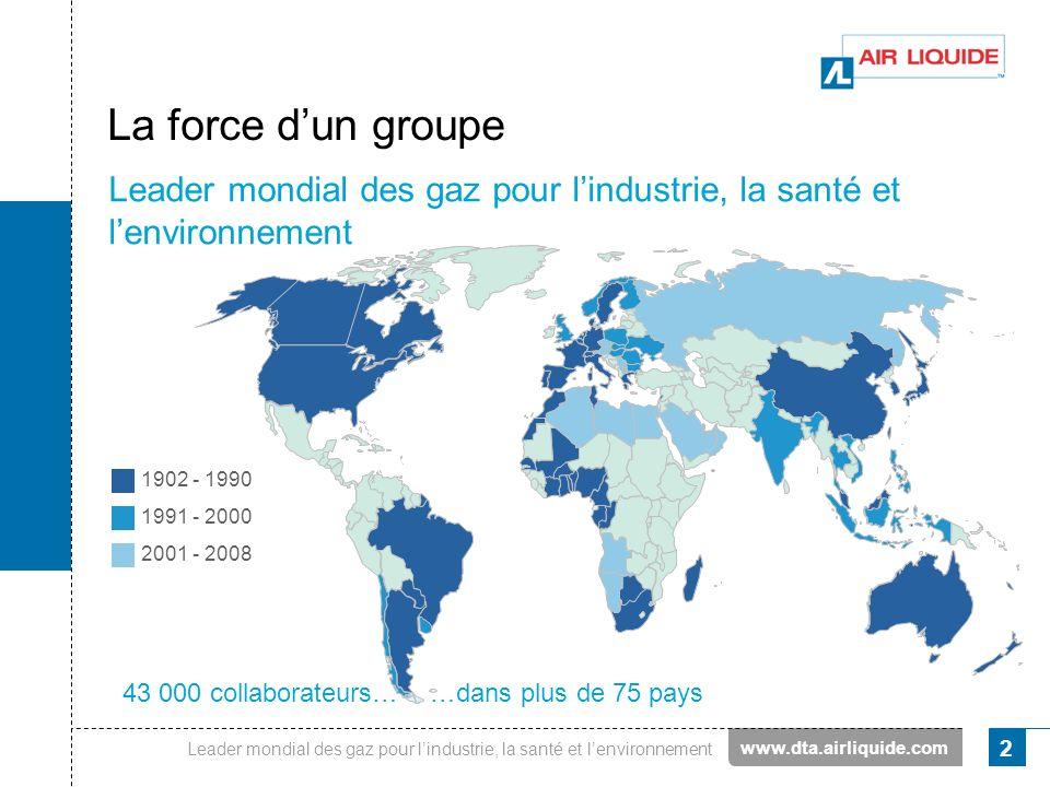 Leader mondial des gaz pour lindustrie, la santé et lenvironnement 2 La force dun groupe Leader mondial des gaz pour lindustrie, la santé et lenvironn