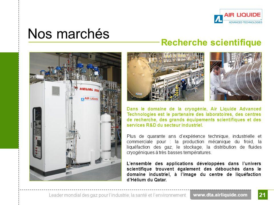 Leader mondial des gaz pour lindustrie, la santé et lenvironnement 21 Nos marchés Recherche scientifique Dans le domaine de la cryogénie, Air Liquide