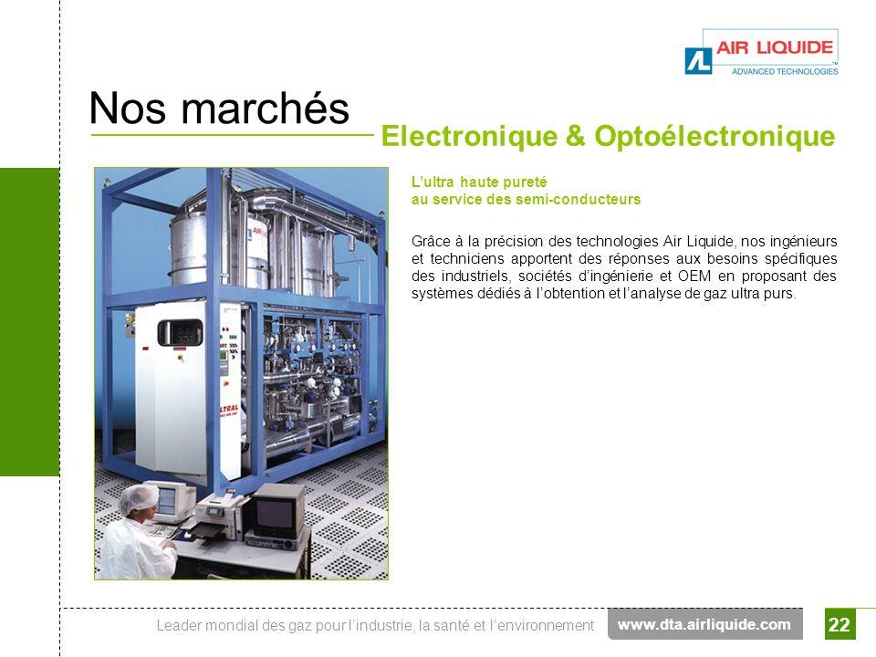 Leader mondial des gaz pour lindustrie, la santé et lenvironnement 22 Nos marchés Electronique & Optoélectronique Lultra haute pureté au service des s