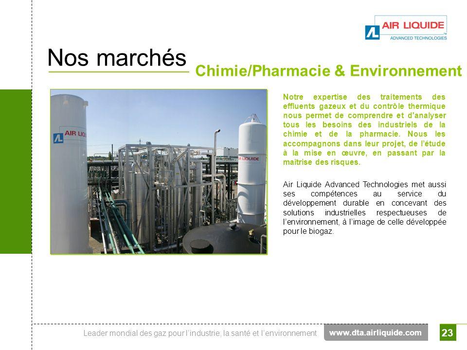 Leader mondial des gaz pour lindustrie, la santé et lenvironnement 23 Nos marchés Chimie/Pharmacie & Environnement Notre expertise des traitements des