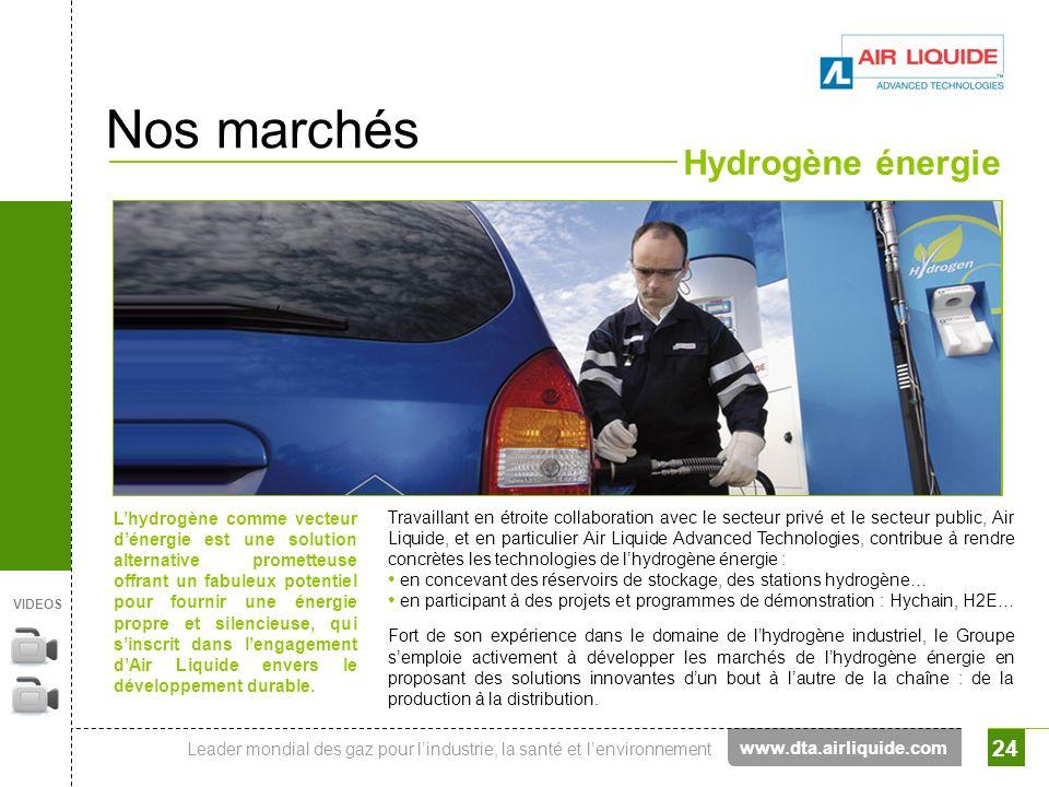 Leader mondial des gaz pour lindustrie, la santé et lenvironnement 24 Nos marchés Hydrogène énergie www.dta.airliquide.com Lhydrogène comme vecteur dé