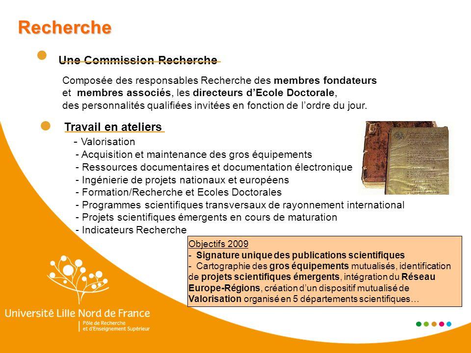 Recherche Une Commission Recherche Composée des responsables Recherche des membres fondateurs et membres associés, les directeurs dEcole Doctorale, des personnalités qualifiées invitées en fonction de lordre du jour.