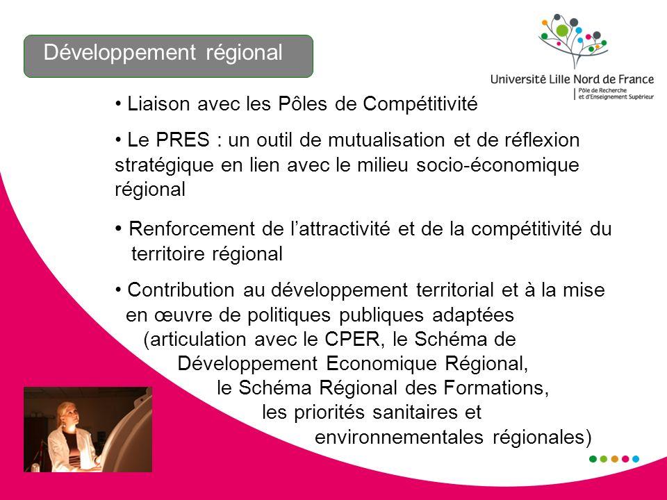 Développement régional Liaison avec les Pôles de Compétitivité Le PRES : un outil de mutualisation et de réflexion stratégique en lien avec le milieu socio-économique régional Renforcement de lattractivité et de la compétitivité du territoire régional Contribution au développement territorial et à la mise en œuvre de politiques publiques adaptées (articulation avec le CPER, le Schéma de Développement Economique Régional, le Schéma Régional des Formations, les priorités sanitaires et environnementales régionales)