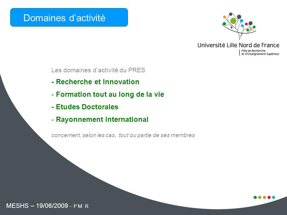 Les domaines dactivité du PRES - Recherche et Innovation - Formation tout au long de la vie - Etudes Doctorales - Rayonnement international concernent, selon les cas, tout ou partie de ses membres Domaines dactivité MESHS – 19/06/2009 – P M.