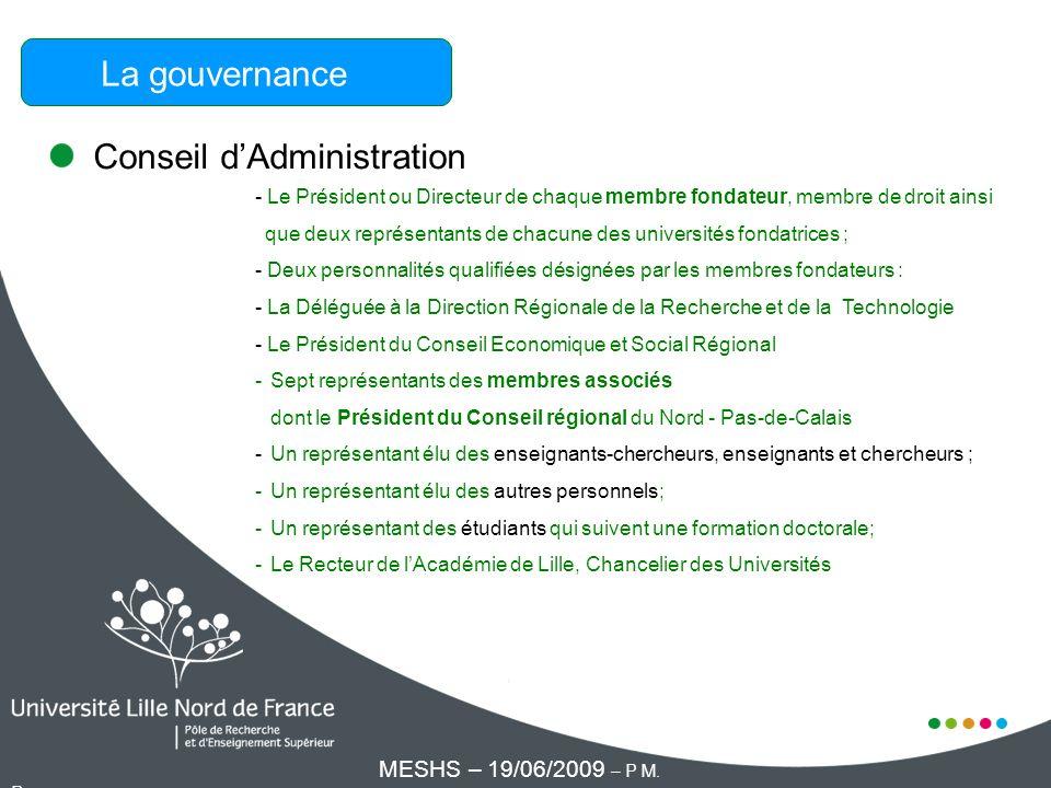 Conseil dAdministration La gouvernance - Le Président ou Directeur de chaque membre fondateur, membre de droit ainsi que deux représentants de chacune