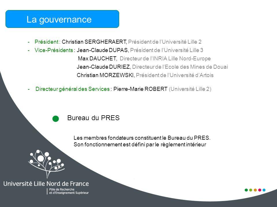 La gouvernance - Président : Christian SERGHERAERT, Président de lUniversité Lille 2 - Vice-Présidents : Jean-Claude DUPAS, Président de lUniversité L