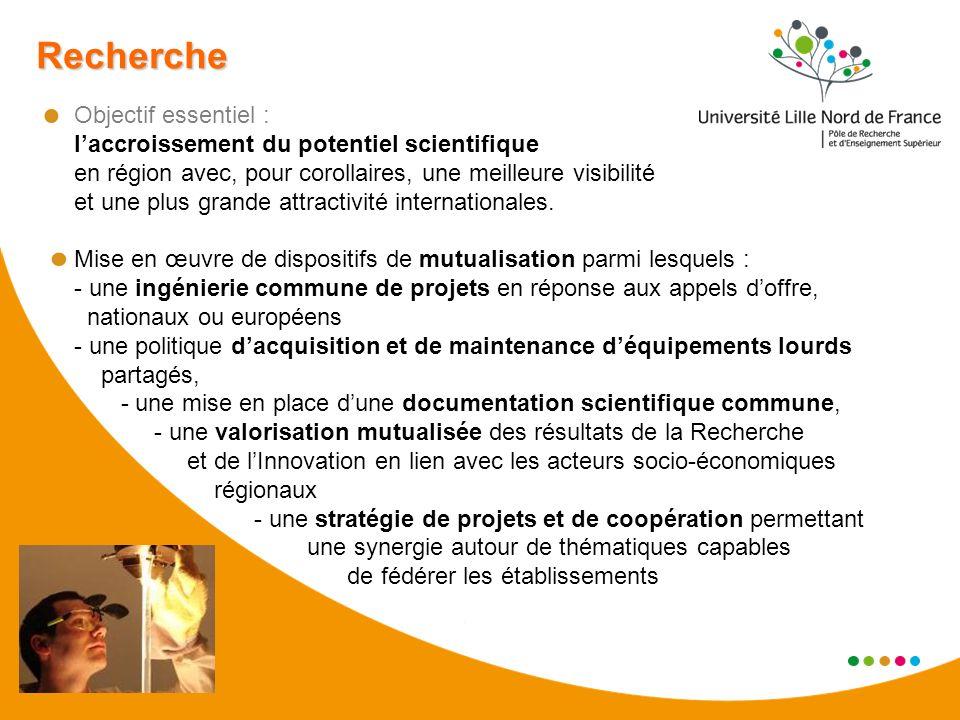 Recherche Objectif essentiel : laccroissement du potentiel scientifique en région avec, pour corollaires, une meilleure visibilité et une plus grande attractivité internationales.