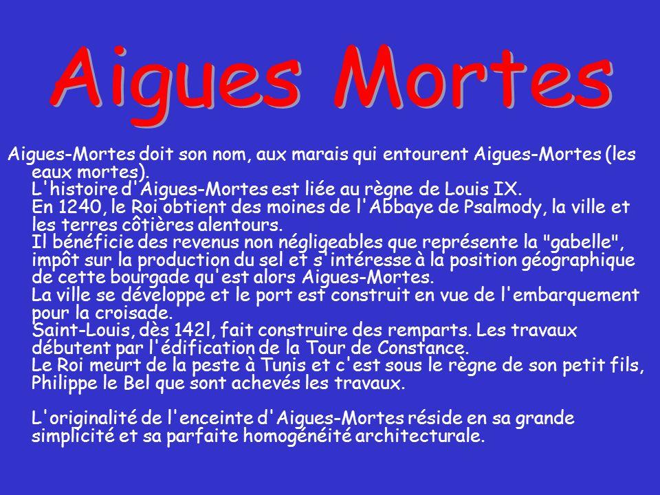 Aigues-Mortes doit son nom, aux marais qui entourent Aigues-Mortes (les eaux mortes).