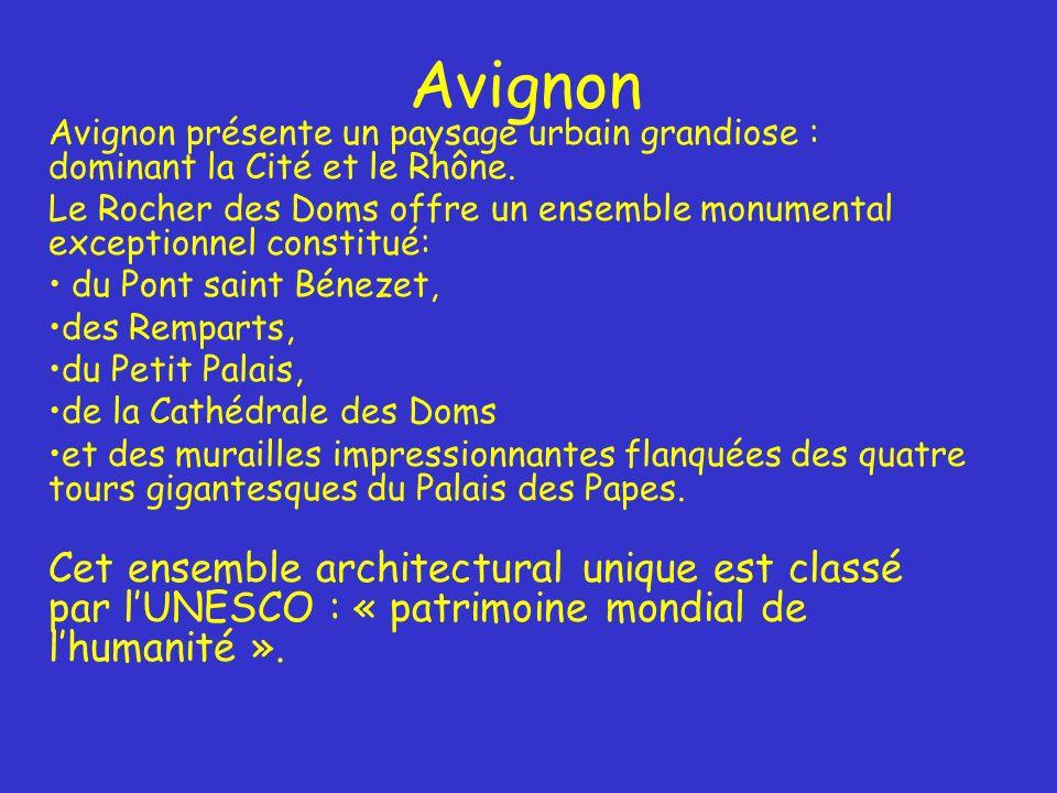 Avignon Avignon présente un paysage urbain grandiose : dominant la Cité et le Rhône.