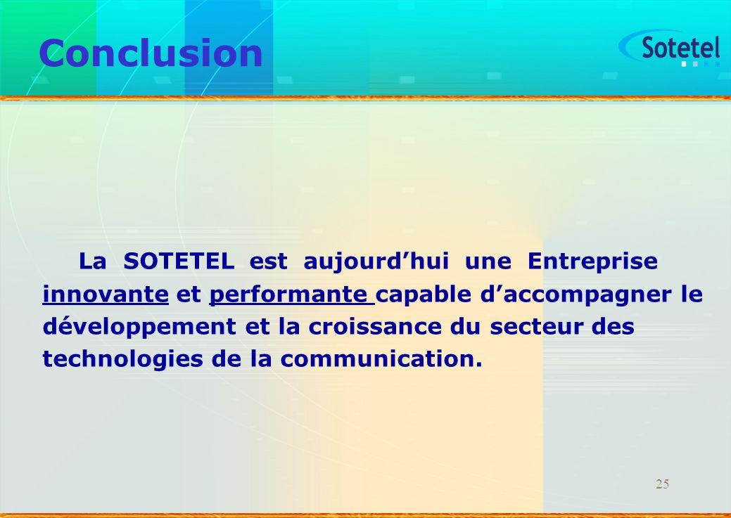 25 Conclusion La SOTETEL est aujourdhui une Entreprise innovante et performante capable daccompagner le développement et la croissance du secteur des