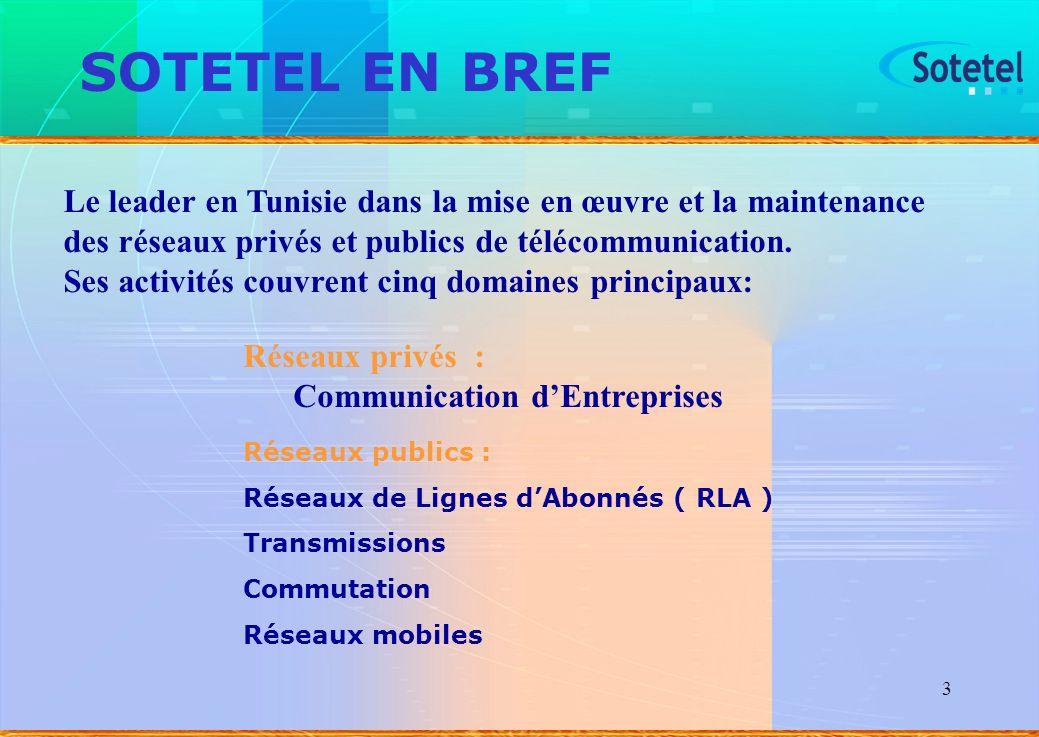 3 SOTETEL EN BREF Réseaux publics : Réseaux de Lignes dAbonnés ( RLA ) Transmissions Commutation Réseaux mobiles Le leader en Tunisie dans la mise en