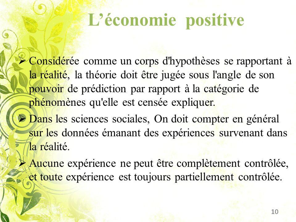 Léconomie positive Considérée comme un corps d'hypothèses se rapportant à la réalité, la théorie doit être jugée sous l'angle de son pouvoir de prédic