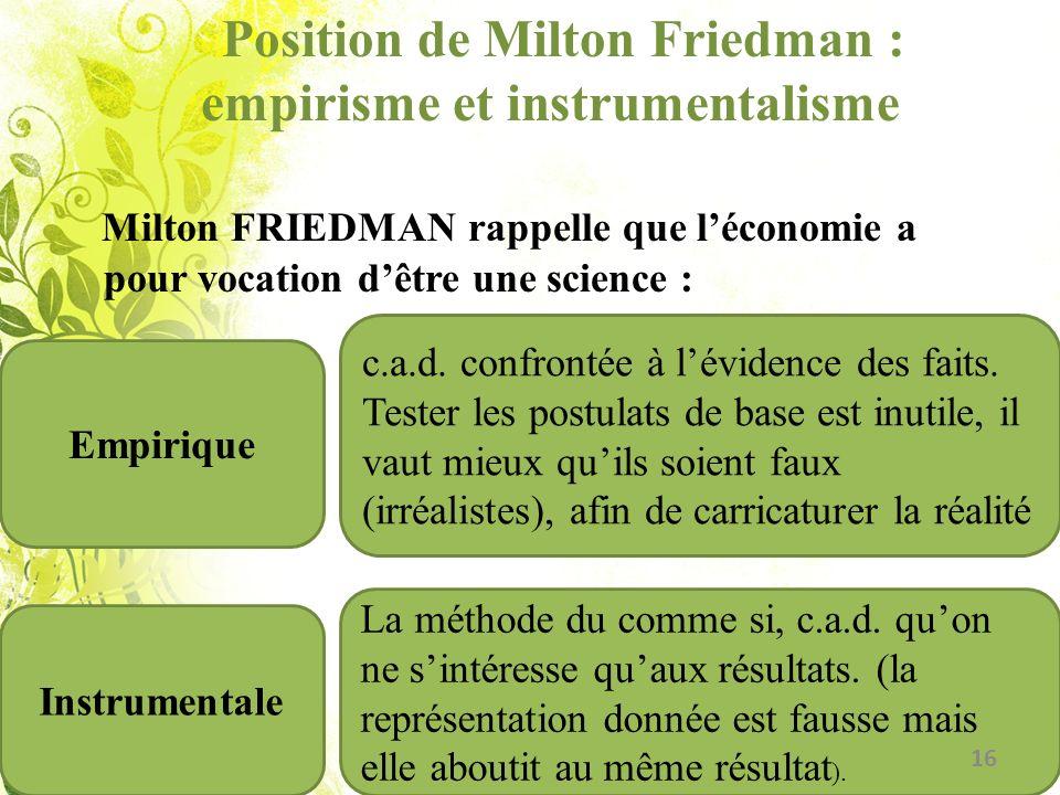 Position de Milton Friedman : empirisme et instrumentalisme Milton FRIEDMAN rappelle que léconomie a pour vocation dêtre une science : Empirique Instr