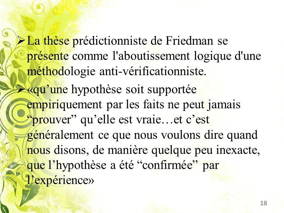 La thèse prédictionniste de Friedman se présente comme l'aboutissement logique d'une méthodologie anti-vérificationniste. «quune hypothèse soit suppor
