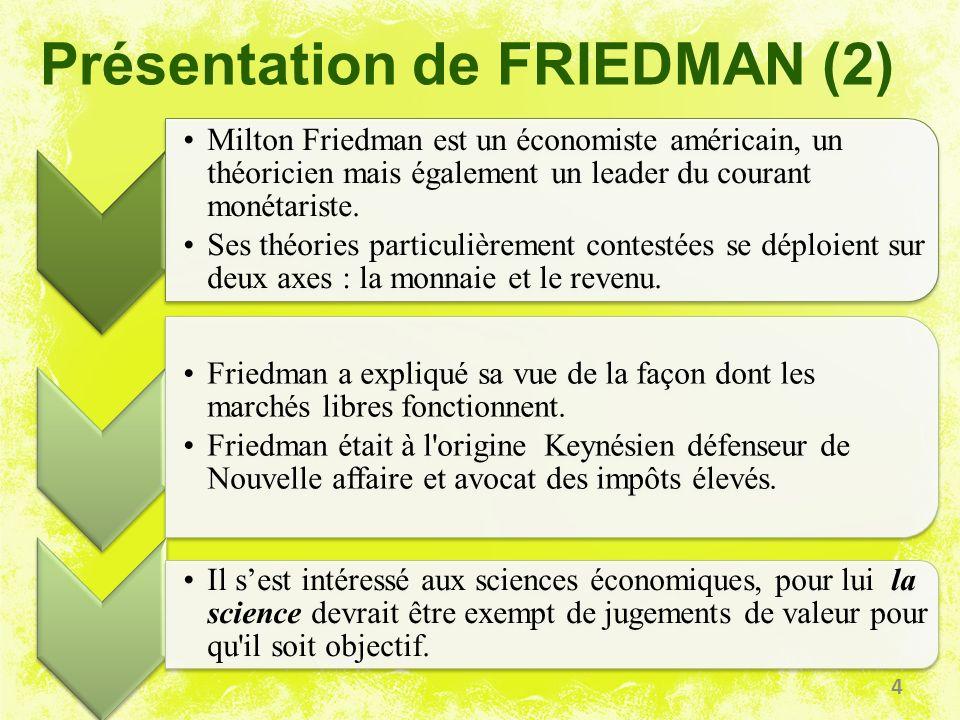 Présentation de FRIEDMAN (2) Milton Friedman est un économiste américain, un théoricien mais également un leader du courant monétariste. Ses théories