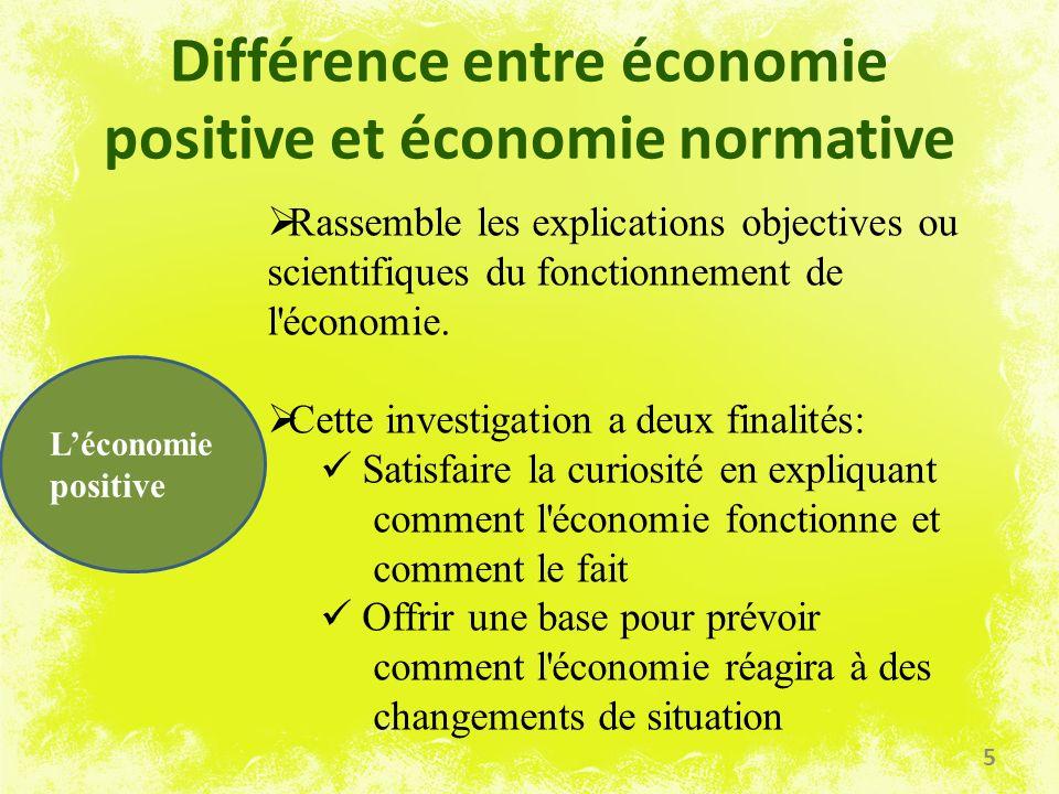 Différence entre économie positive et économie normative Léconomie positive Rassemble les explications objectives ou scientifiques du fonctionnement d
