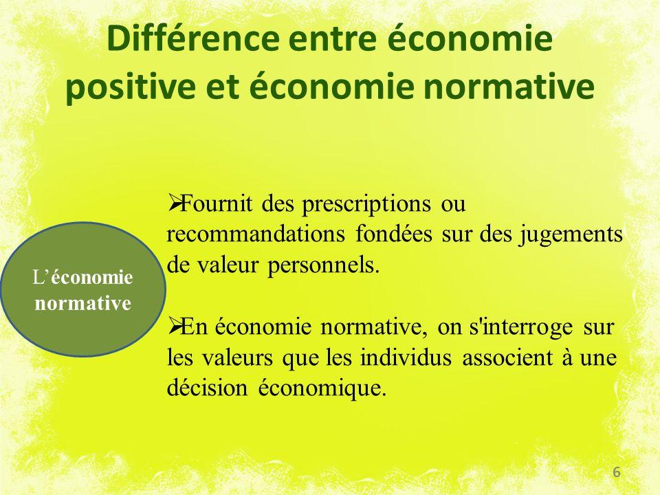 Différence entre économie positive et économie normative Léconomie normative Fournit des prescriptions ou recommandations fondées sur des jugements de