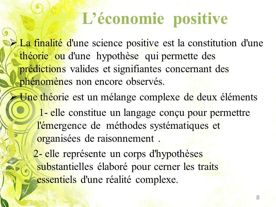 Léconomie positive La finalité d'une science positive est la constitution d'une théorie ou d'une hypothèse qui permette des prédictions valides et sig